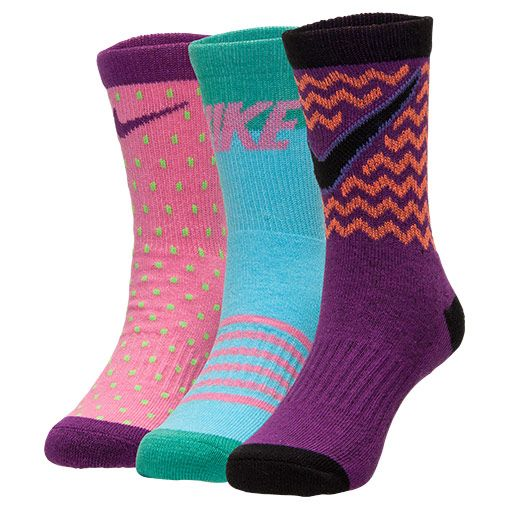 Kids' Nike Pattern 3-Pack Crew Socks - GNK5093 PUR | Finish Line