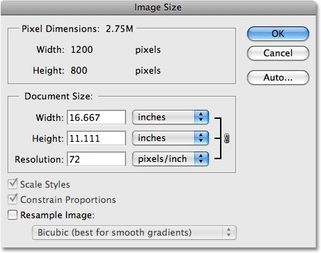 A very good explanation of how image resolution affects print quality. (Image © 2009 Photoshop Essentials.com)