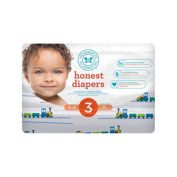 Honest Company Diapers, Trains - Size 3 (34ct)