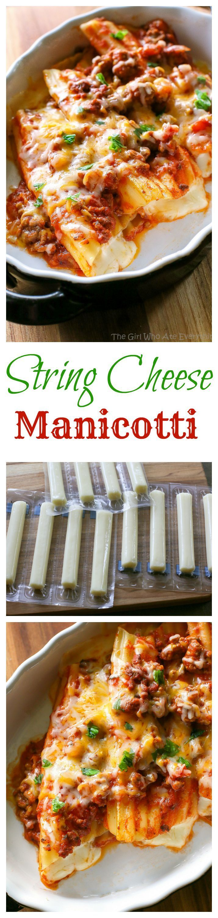String Cheese Manicotti - Easy to stuff manicotti by using string cheese. Weeknight meals don't get easier than this!