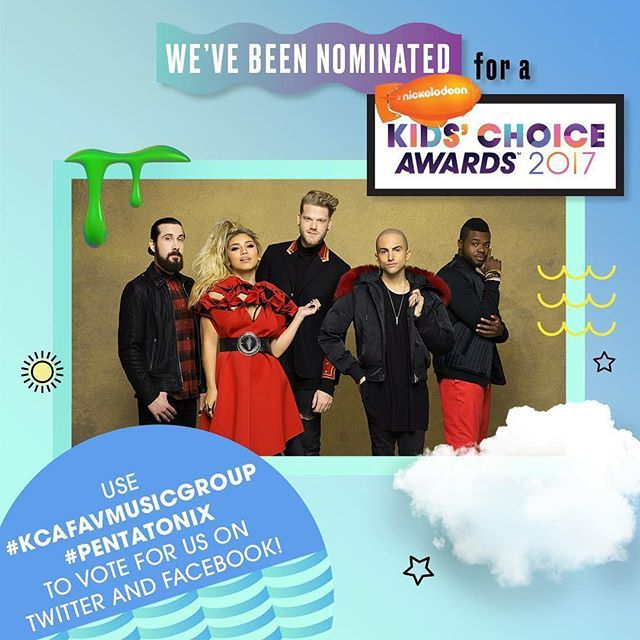 AHH! Were nominated for a Nickelodeon Kids' Choice Awards for Favorite Music Group!! To vote for us, visit nick.com/KCA! You can also vote for us on Twitter using the hashtags #KCAFavMusicGroup and #Pentatonix... make sure to use both! Retweets count as a vote, too. ;)