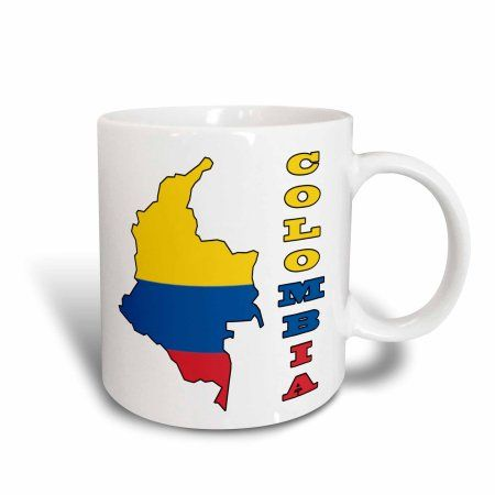 3dRose Colombian flag in the map and letters of Colombia, Ceramic Mug, 11-ounce