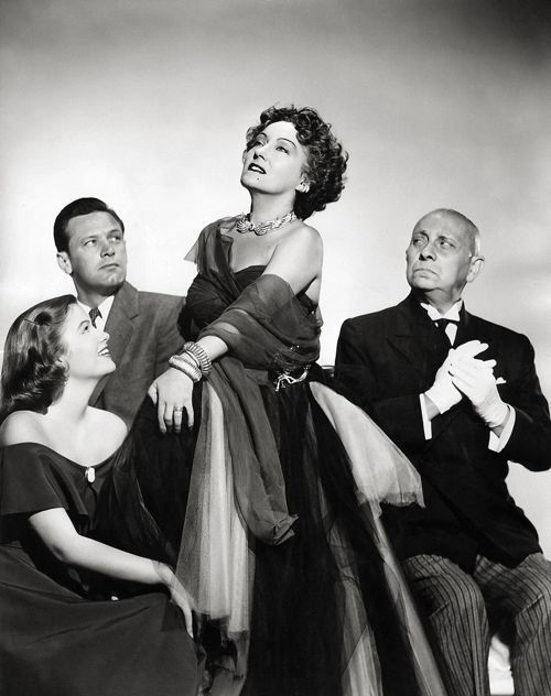 The cast of Sunset Boulevard (1950): Nancy Olson, William Holden, Gloria Swanson, Erich von Stroheim