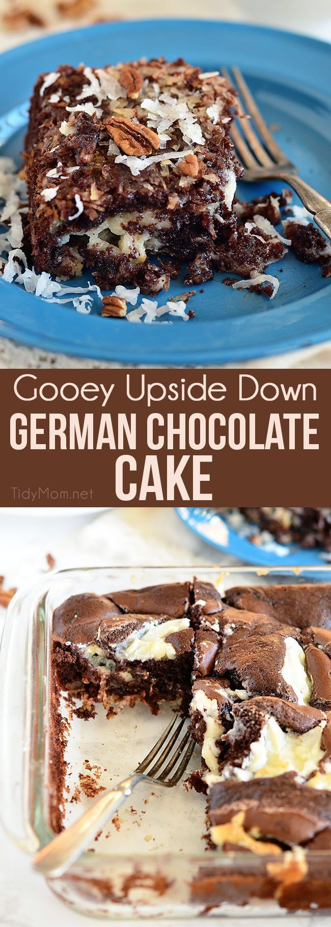 Gooey Upside Down German Chocolate Cake is an easy delicious twist on the traditional German Chocolate Cake. This dessert is gooey, moist, and super simple to throw together thanks to a cake mix. Where it lacks in good looks, it more than makes it up in the yummy department! find the recipe at TidyMom.net