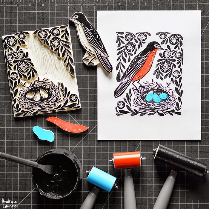 Robin's Nest block print in three colors by Andrea Lauren