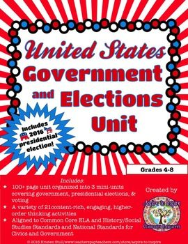 $ Three mini-units in one unit: U.S. government, voting, and presidential elections! 21 engaging, content-rich activities to connect your students to civics and government