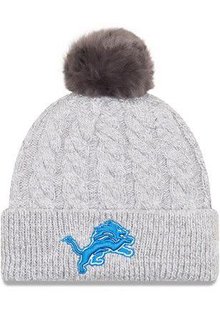 the best attitude e3afc aafe4 New Era Detroit Lions Womens Grey Toasty Pom Knit Hat