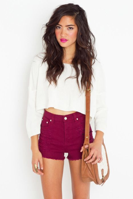 cropped sweater and high waisted shorts