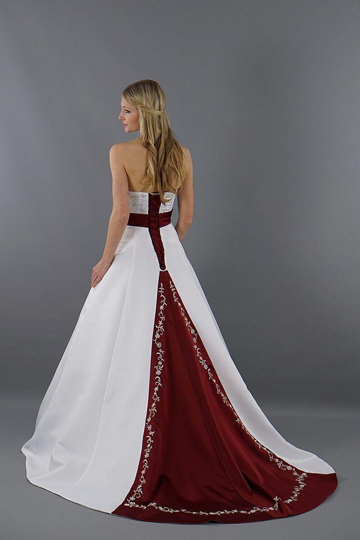 Brautkleid Stella mit rotem Rock & Gürtel | Schmetterling