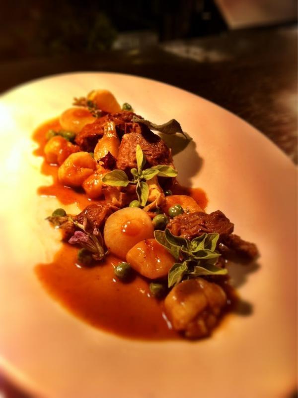Braised Lamb, Potato Gnocchi, Gold Turnips, Cippolini Onions, English Peas