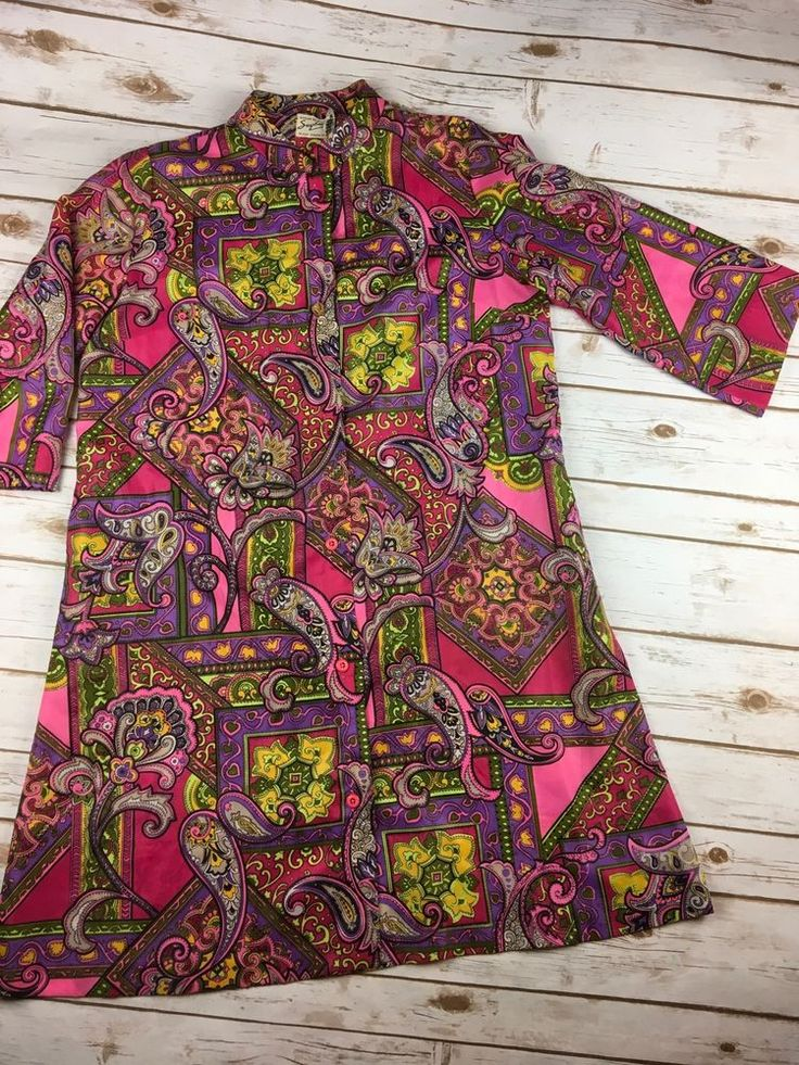 Vtg Saybury Dress 70s Go Go Mod Pop Art Bright Floral Hippie Paisley Housecoat #Saybury #HippieDress #Casual