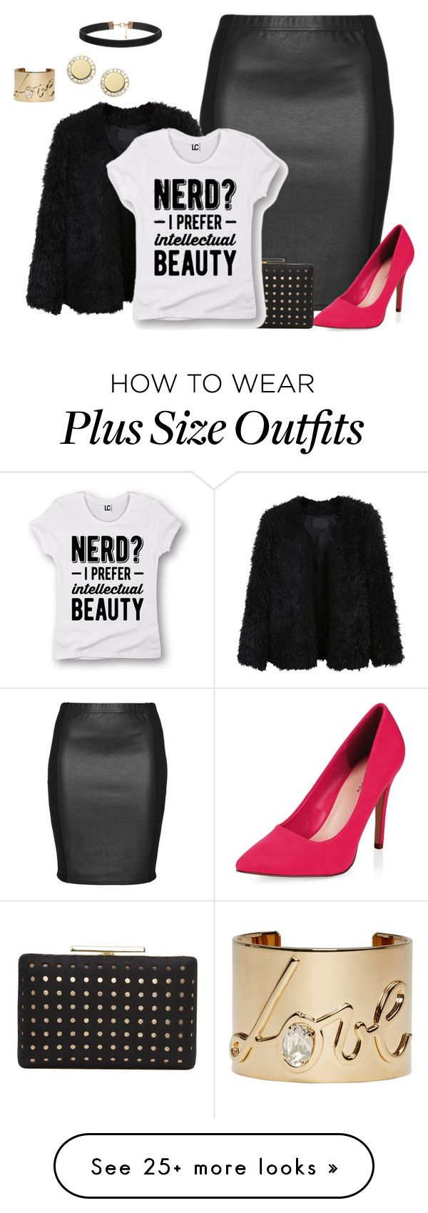 """""""plus size vday look4"""" by kristie-payne on Polyvore featuring Zhenzi, LE3NO, Vince Camuto, Lanvin, FOSSIL, women's clothing, women, female, woman and misses"""