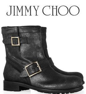 Jimmy Choo Youth Biker boots - shadow rugged leather - smoke