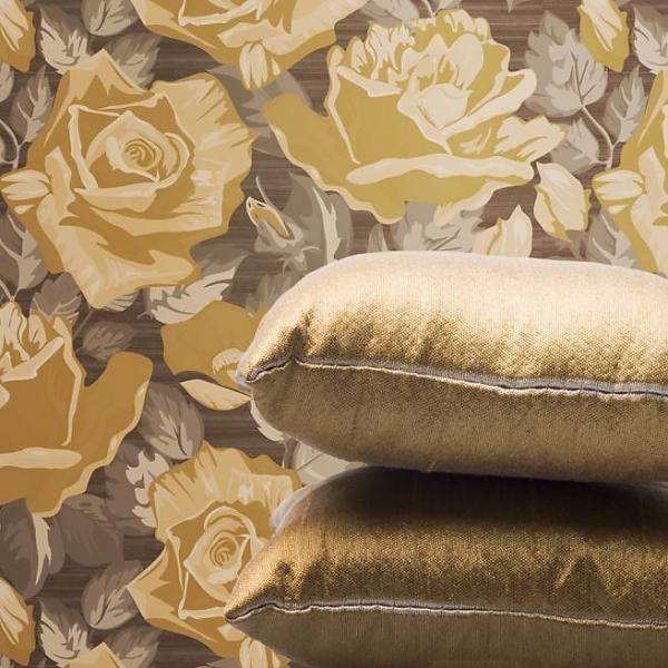 San Priamo bloem bruin - behang van de behangwinkelier