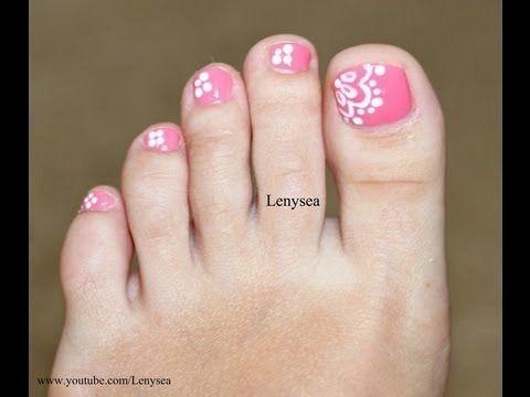 Easy Lace Toe Nail Art Design