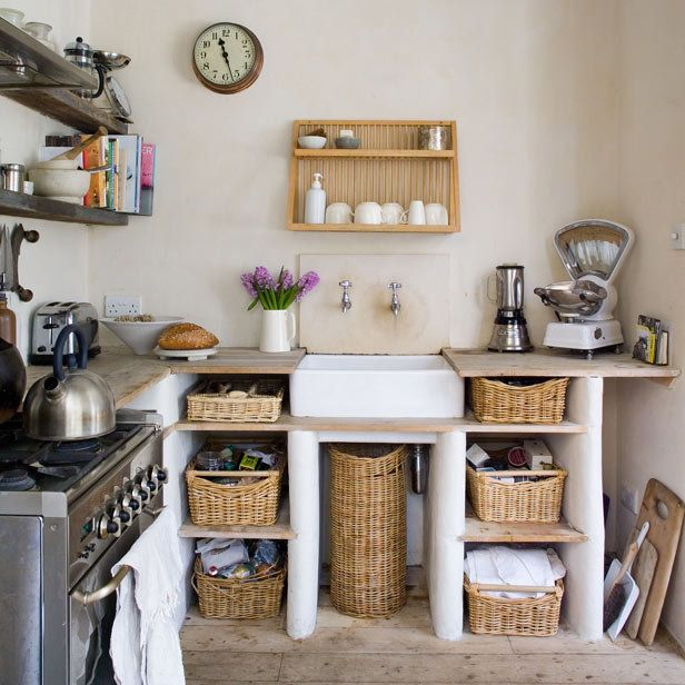 Small, rustic kitchen. I like the baskets and the adobe..i'd have to find another place for the cutting boards though.