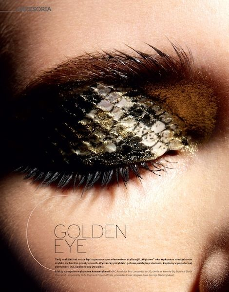 Snakeskin effect eye make up. Beauty fashion inspiration