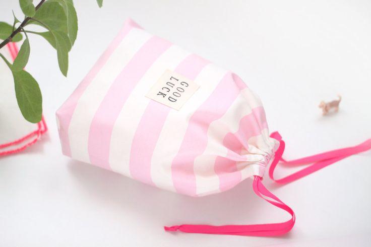 Pink Striped Drawstring bag / Storage bag, Traveling bag, Gift bag, Toy bag by hyonmade on Etsy