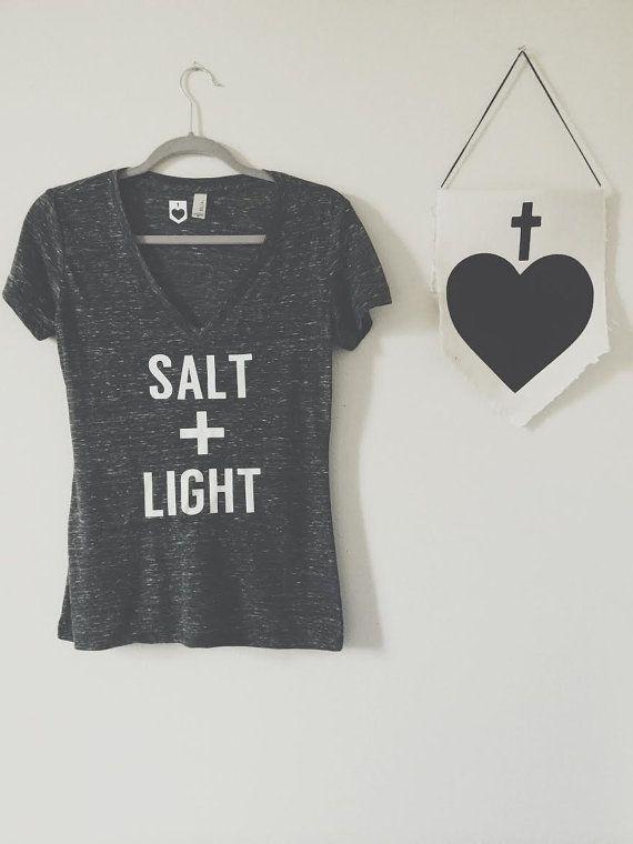 Yoga Top Salt  + Light Tee Shirt Christian Yoga Clothes Women's Jersey Deep V-Neck Tee Charcoal Scripture Tshirt Bible Verse