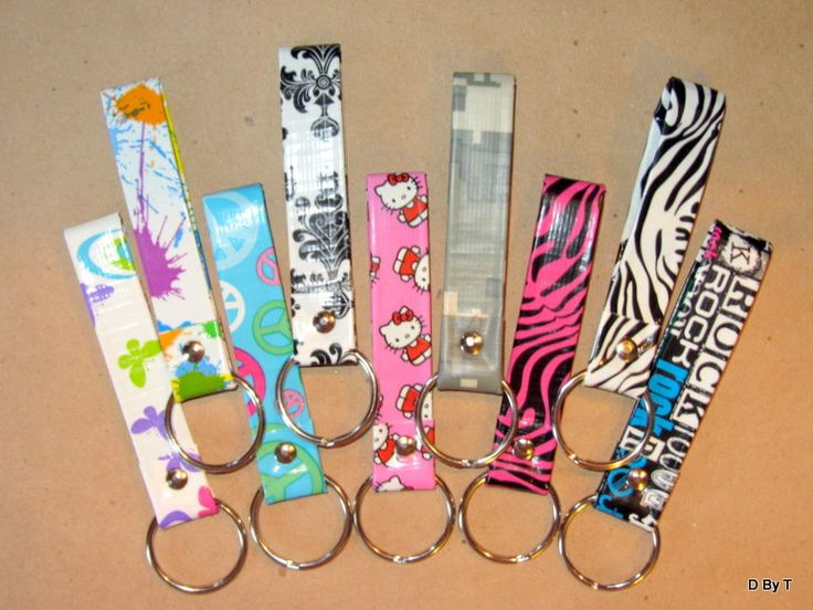 Duct tape designs set of 6 duct tape print key chain fob for Duct tape craft projects