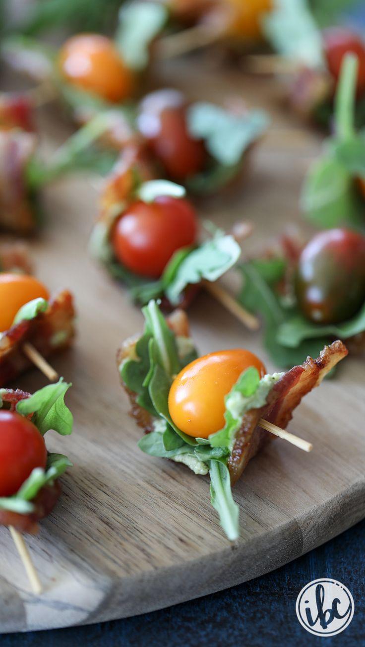 Bacon Tomato Avocado Bites appetizer recipe - summer fall snack appetizer. #bacon #BLT #tomato #farmersmarket #avocado