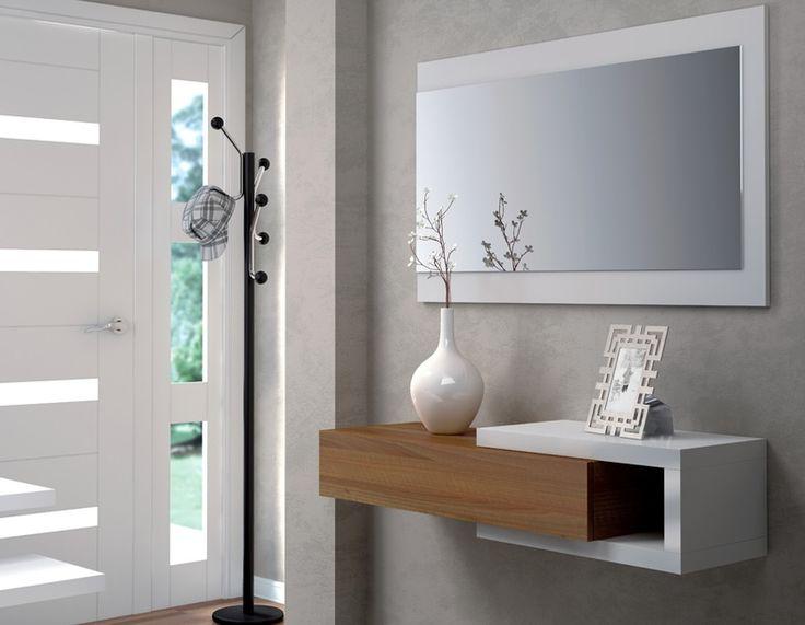 Recibidor con cajón y espejo Noon color nogal/blanco brillo, diseño elegante y moderno. Descubre todas las características pulsando en la imagen #muebleshome #decoracion