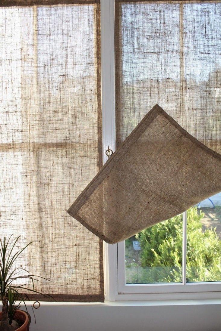 Sheer curtains privacy panel - Burlap Shades