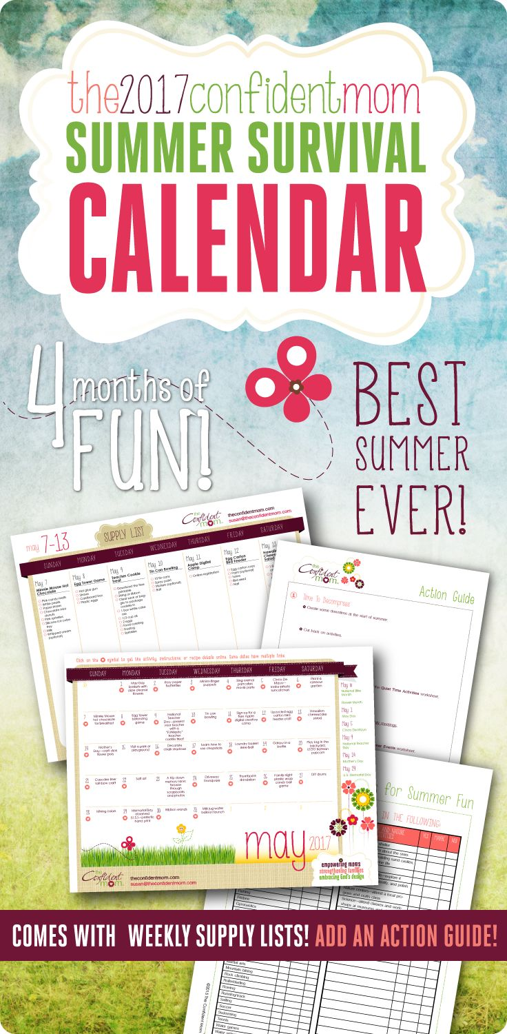 """Plan 4 months of summer adventures with the 2017 Summer Survival Calendar! Have the best summer ever and banish the words, """"I'm bored!"""""""