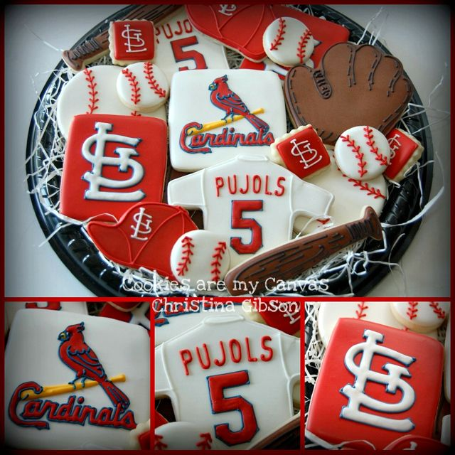 St.Louis Cardinals baseball cookies - Just have to switch Yadi for Pujols