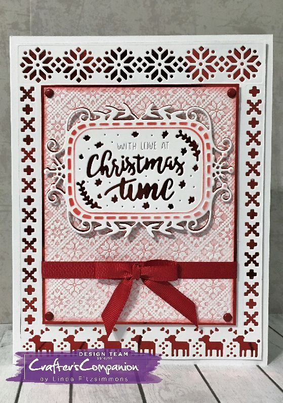 Side fold card made using Sara Signature Scandinavian Christmas Collection – Christmas Time die. Designed by Linda Fitzsimmons #crafterscompanion