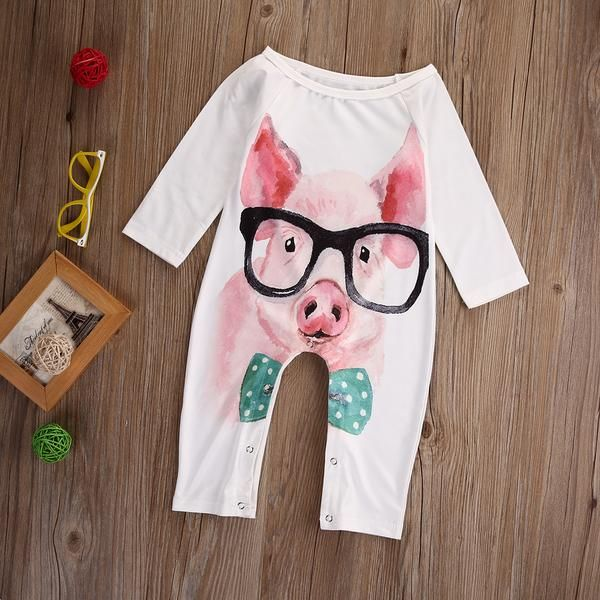 Funny Pig Newborn Baby Boy Girl Romper Jumpsuit Long Sleeve Bodysuit Overalls Outfits Clothes