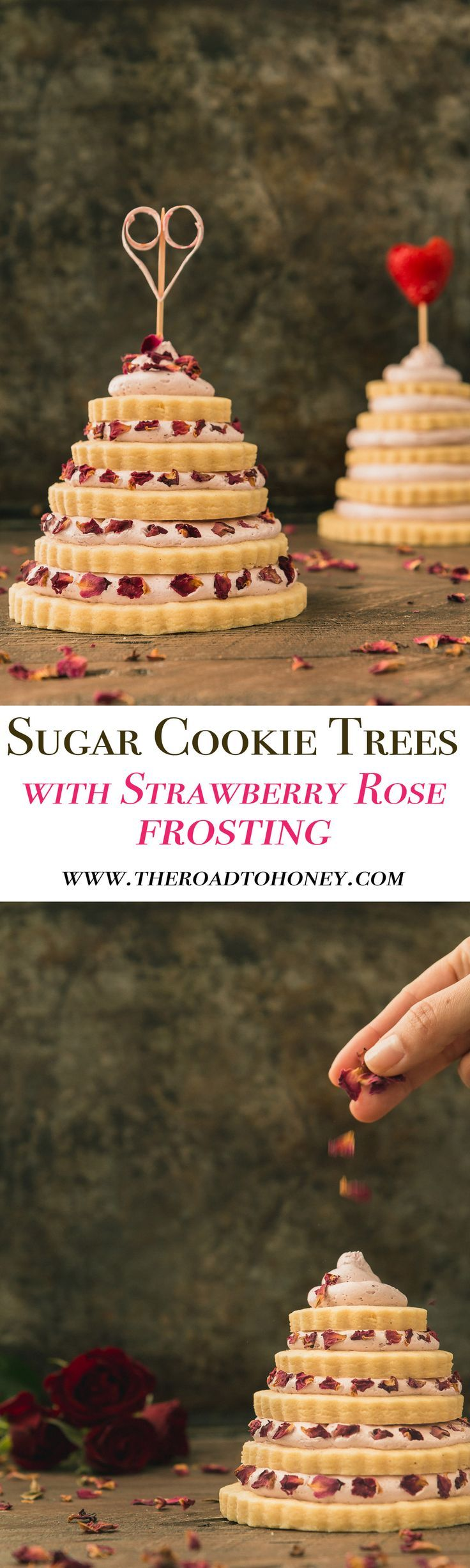 Sugar Cookie Trees with Strawberry Rose Frosting - are made of tiers of sweet almond sugar cookies & topped with a dreamy strawberry & rose buttercream frosting. Perfect for Valentines Day or any other special occasion. Click for RECIPE.