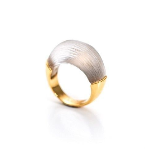 Alexis Bittar, Lucite Small Bean And Gold Band Ring, Alexis Bittar Lucite ring, grey ring, grey lucite, warm grey lucite, grey and gold ring, Alexis bittar Lucite collection, Alexis Bittar jewellery, Alexis Bittar