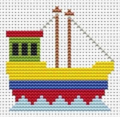 Fishing Boat  hama perler beads pattern