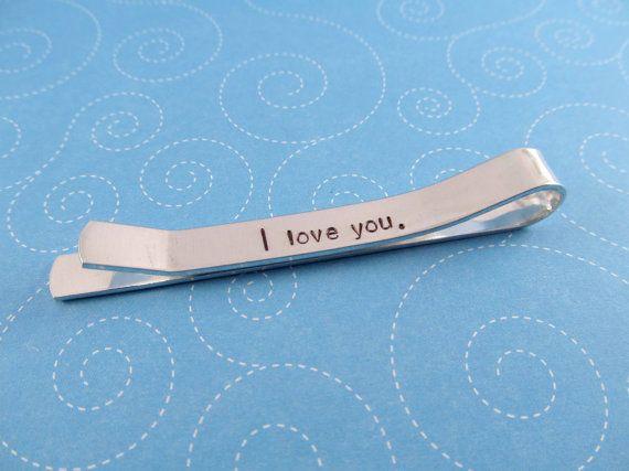 Hidden Message Tie Bar, Personalized Tie Bar, Tie Tack, Handstamped Monogram Gift for Him, Aluminum Tie Clip on Etsy, $22.00
