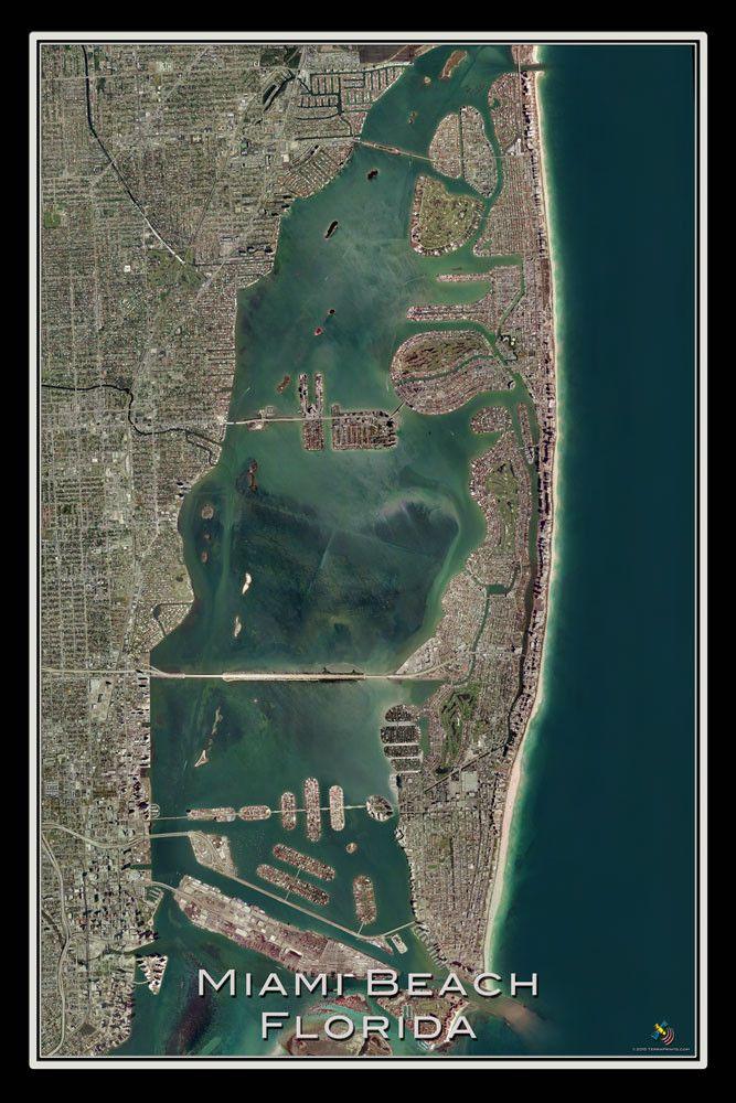 the miami beach florida satellite poster map   miami beach
