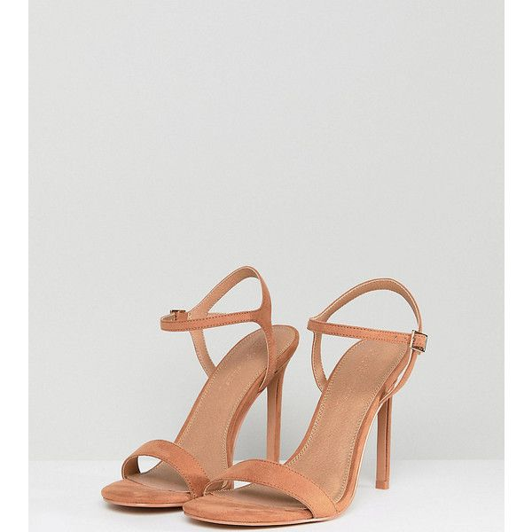 ASOS HANDS DOWN Wide Fit Barely There Heeled Sandals featuring polyvore, women's fashion, shoes, sandals, beige, beige heeled sandals, high heels sandals, ankle strap high heel sandals, wide ankle strap sandals and beige sandals