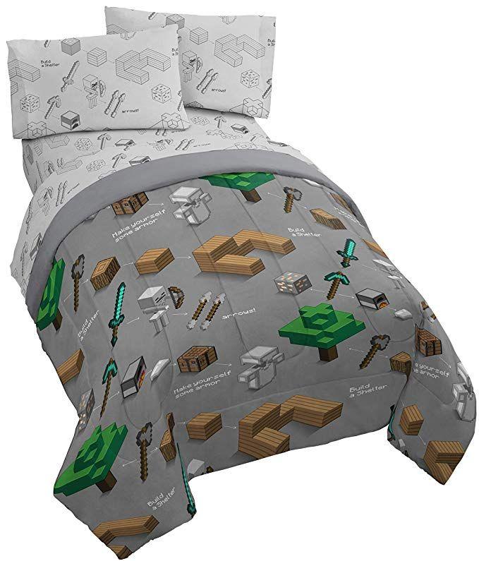 Jay Franco Minecraft Survive 4 Piece Twin Bed Set Includes