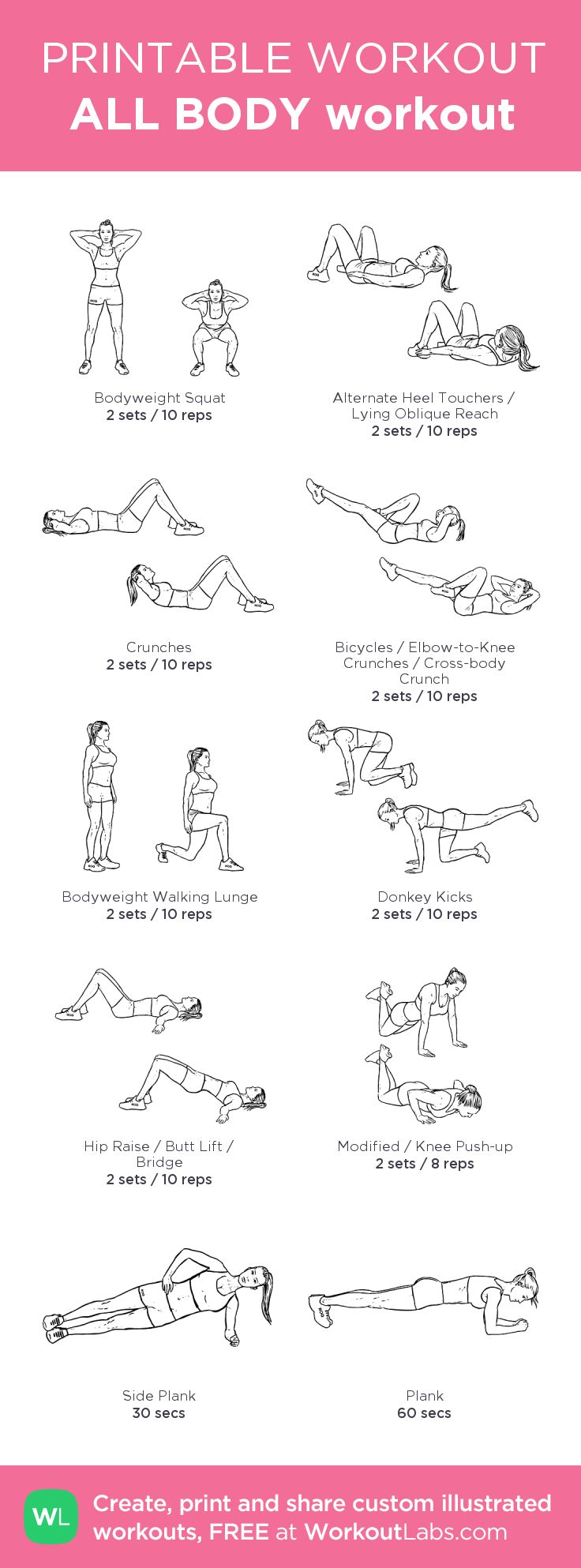 ALL BODY workout:my visual workout created at WorkoutLabs.com • Click through to customize and download as a FREE PDF! #customworkout