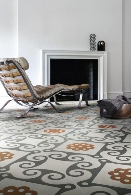 Tile: Large-scale patterns can transform a floor or wall into the most interesting part of the room. These tiles recall cement and encaustic tiles but are ceramic.    Shown: Frame by Refin    More:   See the latest in wood-look tile