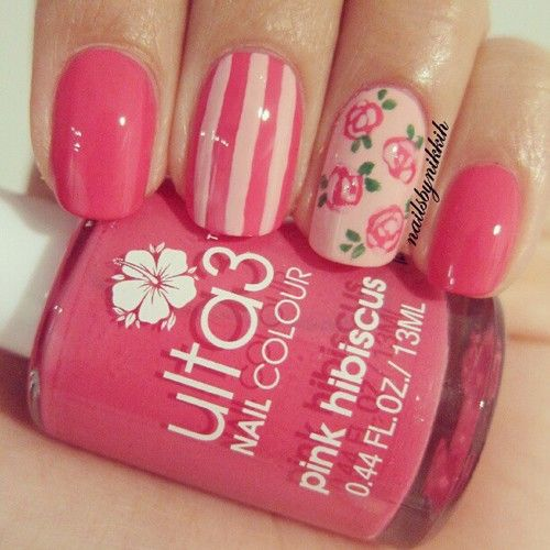 Pink nails stripes flowers