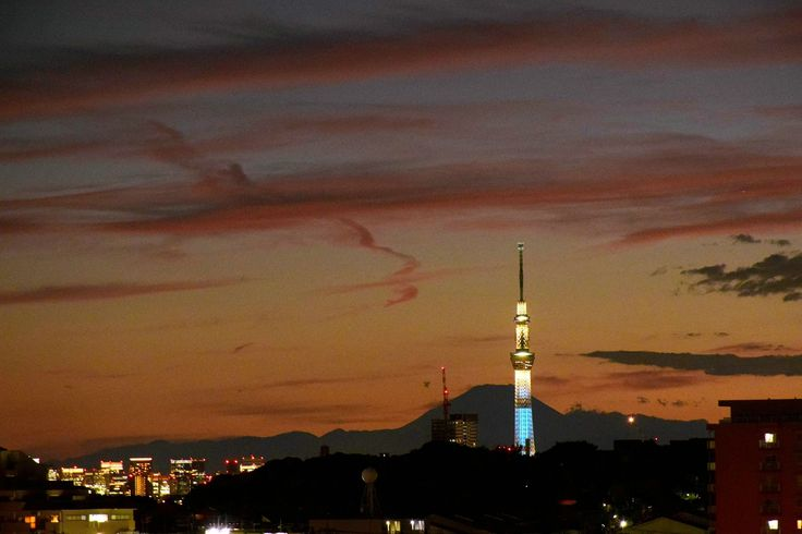 市川市内で撮影した富士山とスカイツリー The panoramic view of Mt. Fuji and Tokyo Sky Tree From Ichikawa City,Japan
