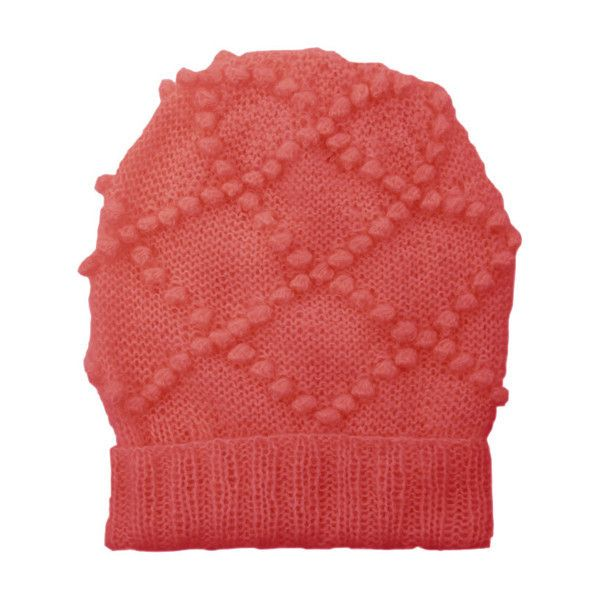 Salmon pink mohair diamond knit beanie by lowie ($67) ❤ liked on Polyvore featuring accessories, hats, pink beanie, slouchy beanie, pink hat, ribbed beanie and beanie cap hat