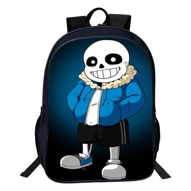 Hot Sale Polyester 16-inches Black Printing Cartoon Undertale Backpack for Boys Schoolbag Kids School Bags for Children Book Bag