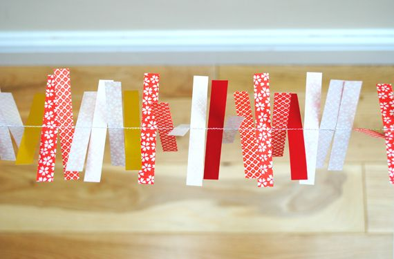 Festive origami decorations- garland of stripes
