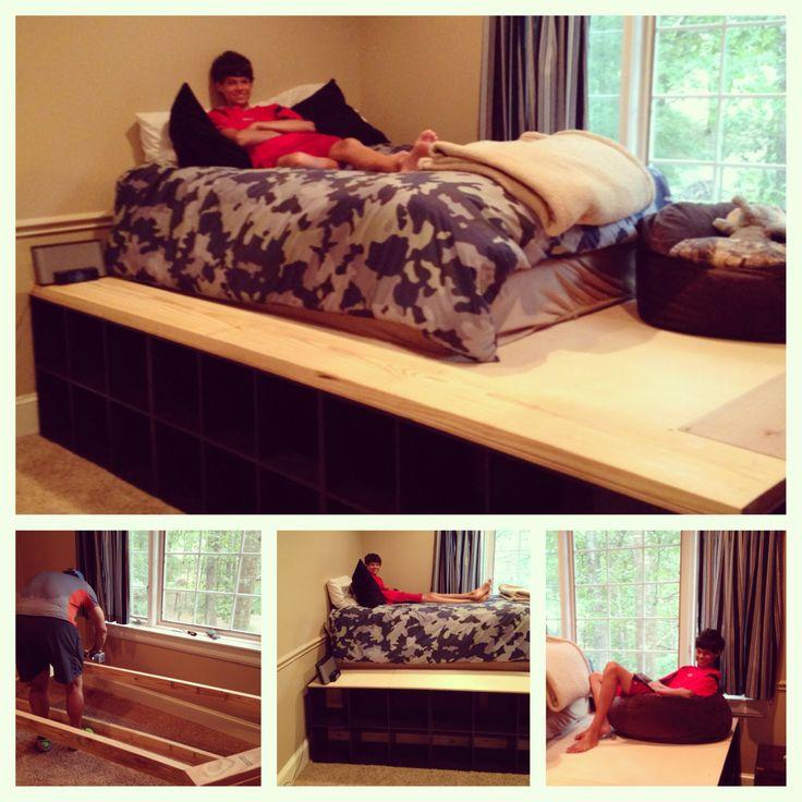Diy platform bed with cubbies for storage for Storage platform bed diy