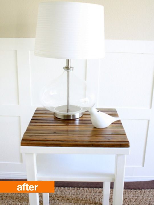 before/after table -- white & wood is so fresh looking: Distressed Wood, Small Tables, Idea, Side Tables Makeovers, Side Table Makeover, Wood Tables, End Tables, Upcycled Side, Diy Projects