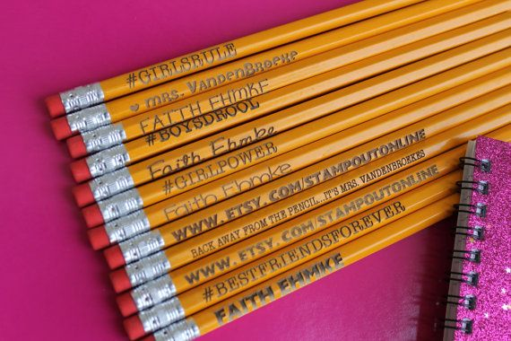 Variety Pack 12 Personalized Pencils by stampoutonline on Etsy