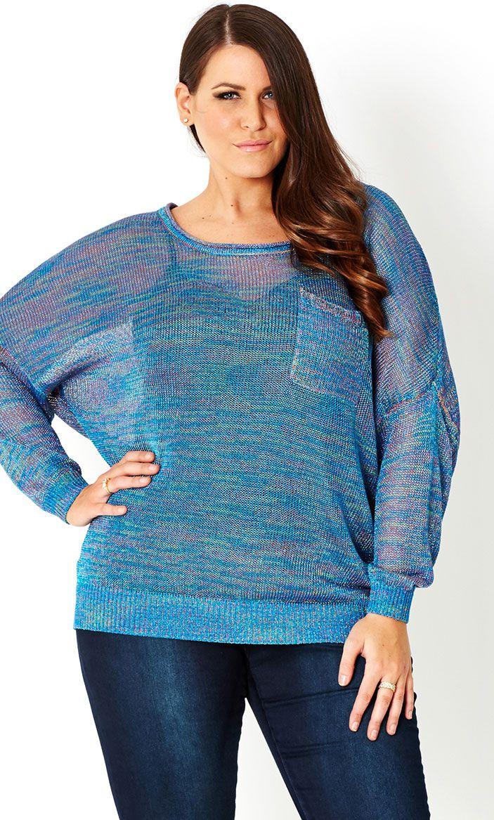 CITY CHIC - METALLIC BLUES JUMPER  - Women's plus size fashion
