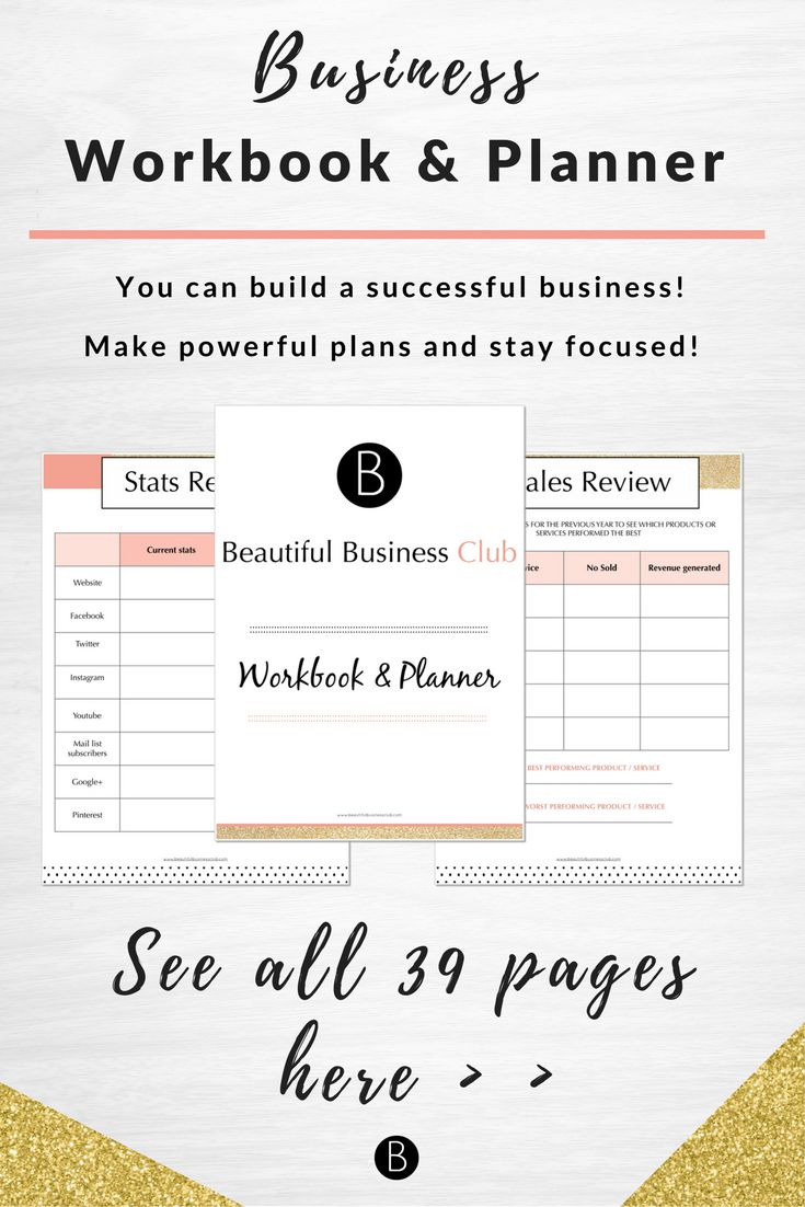 Make powerful plans and stay focused on your business goals and dreams everyday! This beautiful printable workbook and planner helps you gain control and keep taking action each day to make success a reality
